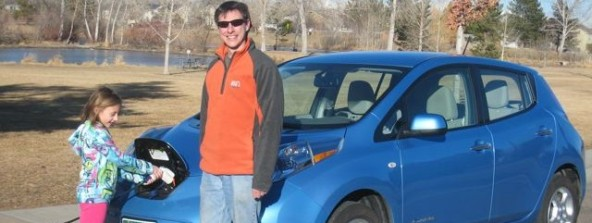 Matt Russell and his Nissan Leaf