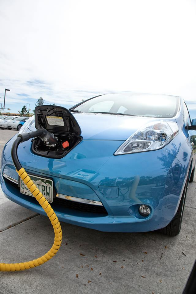 A Nissan Leaf charging at the new Fort Collins DC Quick Charger