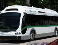 Proterra BE35 EcoRide bus near the company headquarters in Greenville, S.C.