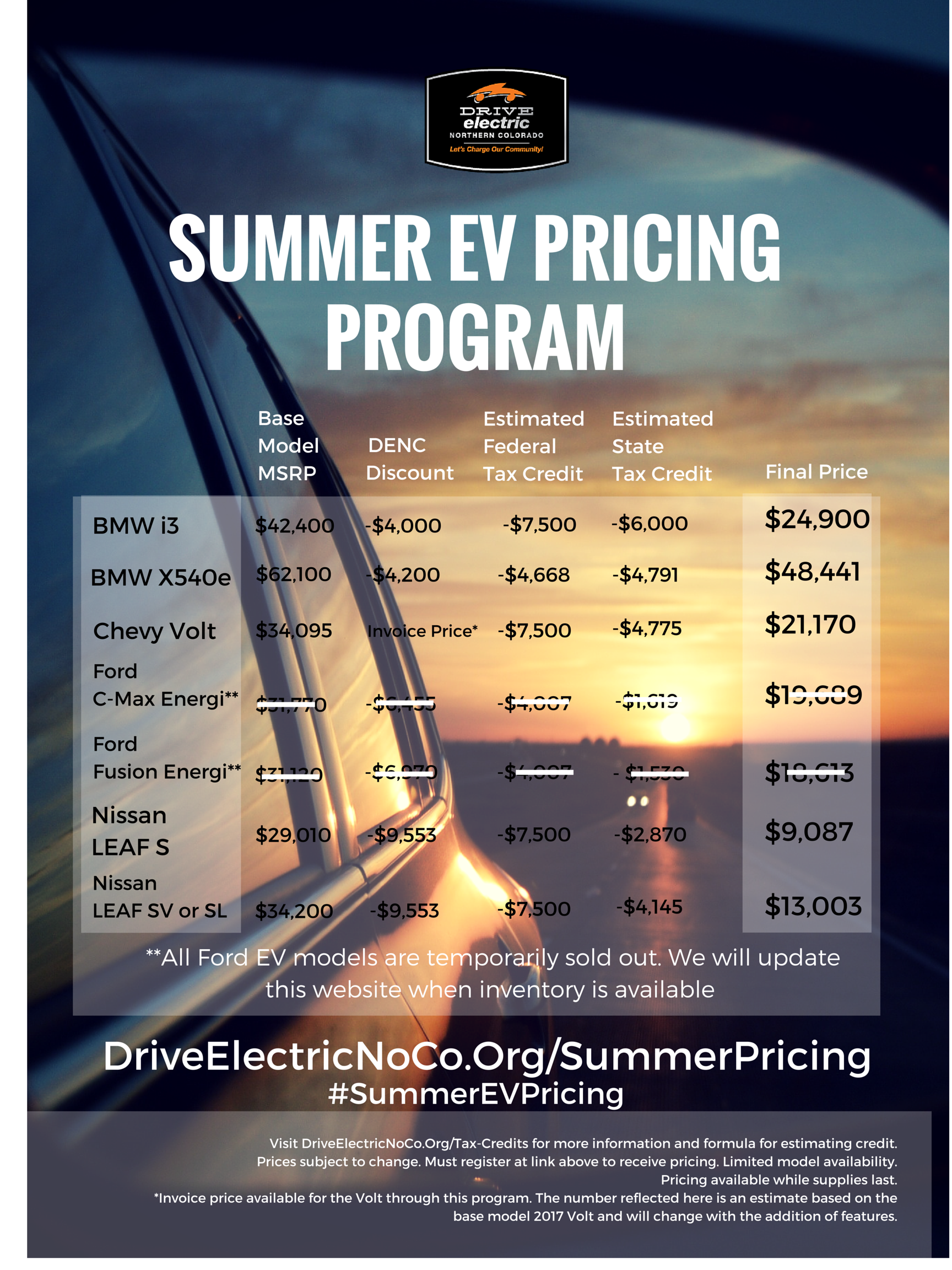 2016 Volkswagen Golf Fort Collins >> EV Summer Pricing Program - Drive Electric Northern Colorado
