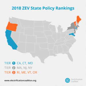 Image courtesy of the Electrification Coalition: ZEV State Policy Rankings, June 2018