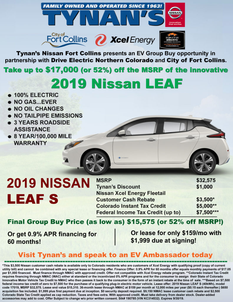 Tynan'S Nissan Fort Collins >> Tynan S Nissan 2019 Group Buy Flyer Drive Electric